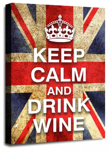 Keep Calm and Drink Wine British Flag Wall Art